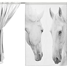 WHBAG 2 Piece Tulle Voile Window Room Decoration Semi Sheer Curtain,Art White Horse,Gauze Curtains Living Room Bedroom Tie Top Curtain 55x78 inch Two Panels Set