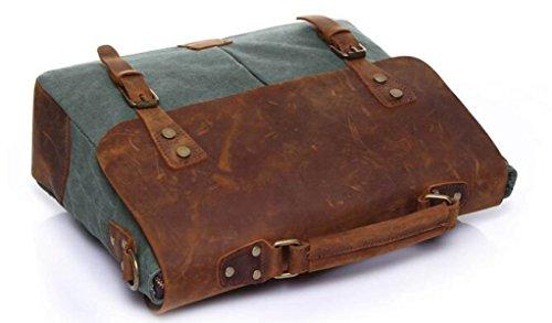 Bolso Retro De La Lona De Los Hombres Con La Primera Capa De Bolso De Hombro De Cuero Bolso Portable De La Carpeta Del Mensajero D