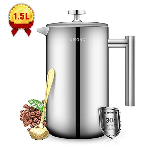 French Press Coffee Maker Double Walled Stainless Steel (50 Oz-1.5L) Coffee/Tea Maker with Extra Filter Screens, Dishwasher Safe (12 Cup)