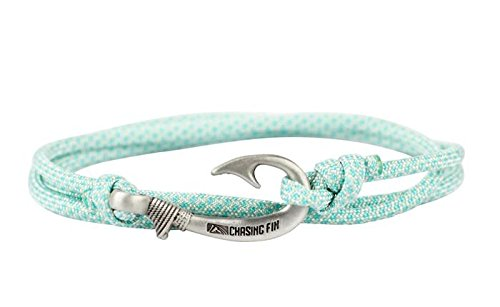 (Chasing Fin Adjustable Bracelet 550 Military Paracord with Fish Hook Pendant (Turquoise Diamonds))