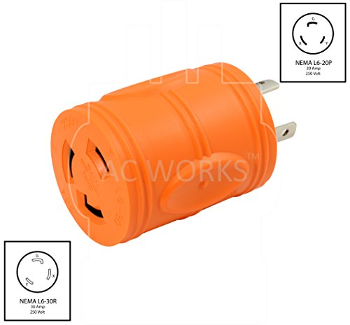 AC WORKS [ADL620L630] Plug Adapter L6-20P 20Amp 250Volt Male Plug to L6-30R 30Amp Female Connector by AC WORKS (Image #1)
