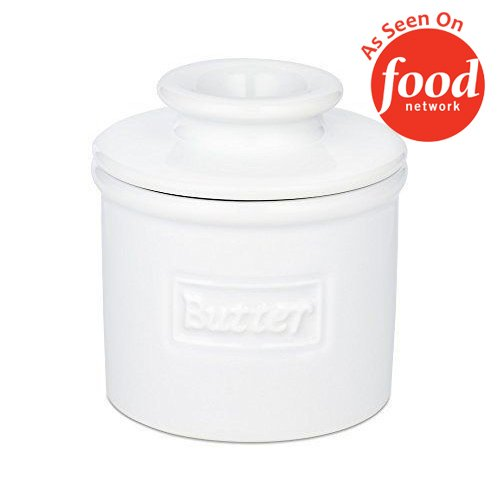 Glazed Ceramic Finish - The Original Butter Bell Crock by L. Tremain, Cafe Retro Collection - White