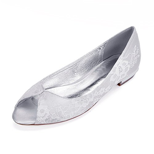 De Mariage Partie Satin Bas Fermé Chaussures Zxstz Femme De En Mariée Dentelle Argent Talon YCx6wqSRf
