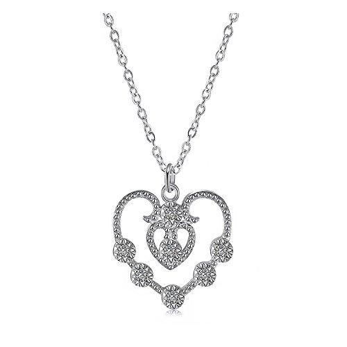 Majesto Open Heart Crystal Pendant Necklace for Women Teen Girls Junior Kids Children Jewelry Prime Gift 18K Gold ()