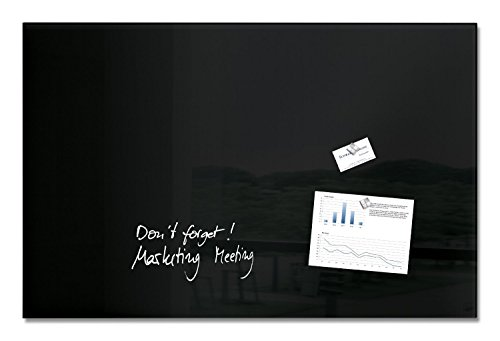 Sigel SY447 Magnetic glass board/Magnetic pinboard artverum, 39.37 x 25.59 inches, black – tempered single-pane safety glass (ESG) – TÜV and GS-approved product safety – 25-year guarantee by Sigel