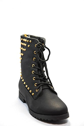 Dream Pairs Ins-1 Studded Lace-up Combat Boots Black Gold - stylishcombatboots.com