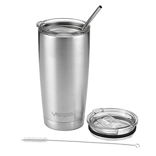 Vanpo Durable Stainless Steel Tumbler Double Wall Vacuum Insulated Tumbler Travel Mug Coffee Cup Rambler Tumbler Cup( 20OZ )
