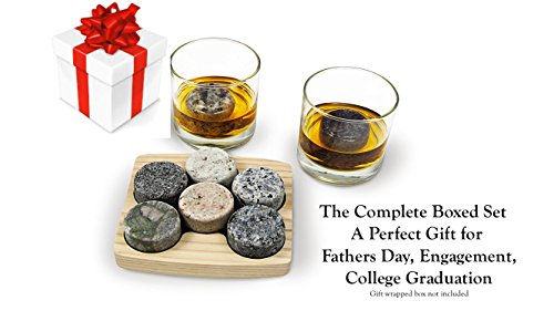 Sea Stones On the Rocks Granite 6-Piece Whiskey Chilling Stones Set with Two 10-Ounce Tumblers and Hardwood Presentation/Storage - Rock Glass Piece 2 Usa