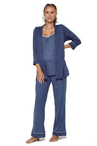 Belabumbum Women's Lounge Chic Maternity and Nursing Pajama + Robe Set, Chambray ()