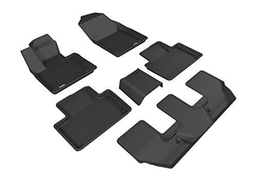 Black Volvo Floor Mat - 3D MAXpider Complete Set Custom Fit All-Weather Floor Mat for Select Volvo XC90 Models - Kagu Rubber (Black)