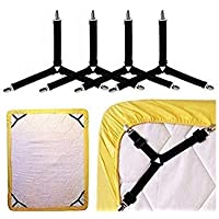 Casa Copenhagen Ember Nylon Adjustable Fasteners Suspenders Gripper, Triangle and Elastic Straps Clips for Various Bedsheets/Sofa/Mattress Covers/Curtains (Black) - 4 Pieces