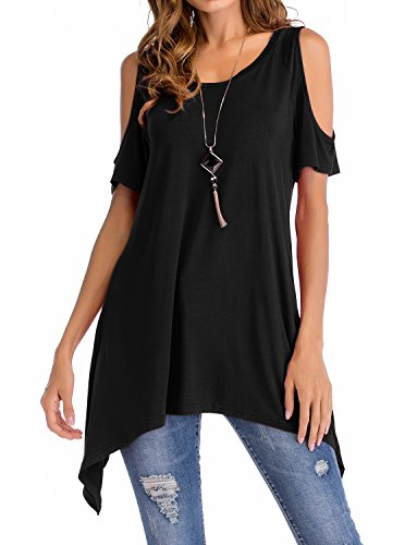 PINKMILLY Women Cold Shoulder Short Sleeve Loose Swing Tunic Tops Shirt
