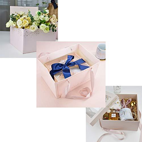 con fiocco per matrimoni confezione da 3 25,4 x 25,4 x 22,9 cm feste di Natale per la spesa per feste Sacchetti di carta da regalo di lusso con manico compleanni in carta riciclata