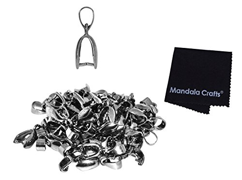 Mandala Crafts Metal Pinch Bail, Pendant Connector, Dangle Charm Clasp Clip for Jewelry Making; 50 PCs Finding Kit (Gunmetal, 7 X 20mm)