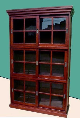 D-ART 3 Section Sliding Door Bookcase Cabinet – in Mahogany Wood