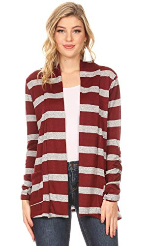 (Long Sleeve Lightweight Cardigan Sweater for Women with Pockets - Made in USA (Size XX-Large US 18-20, Heather Grey - Burgundy Stripe))