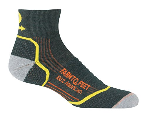 Farm to Feet Damascus Lightweight Elite Hiking 1/4 Crew Socks, Green Gables, (Gables One Light)