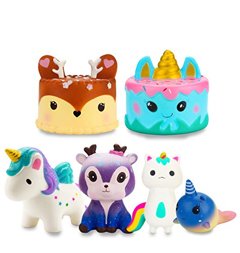 WATINC 5Pcs Cute Animal Squishy,Sweet Scented Charming Slow Rising Squishy for Kid Toy, Lovely Toy,Stress Relief Toy,Decorations Toy Gift Fun Deer Cake 5pcs Set