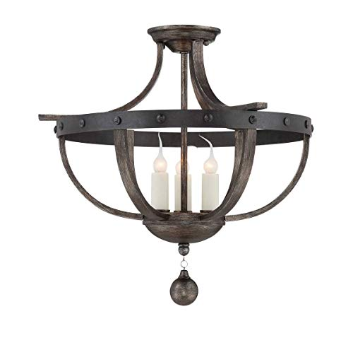 Savoy House 6-9540-3-196, Alsace 3-Light Semi-Flush, Reclaimed Wood