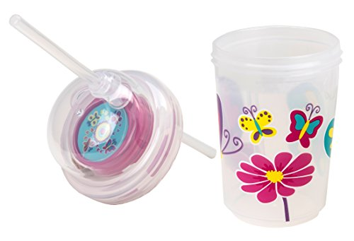(nuspin kids 8 oz Sip & Spin Straw Cup + Bonus Zoomi Straw, Butterflies Fly Around When You Drink)