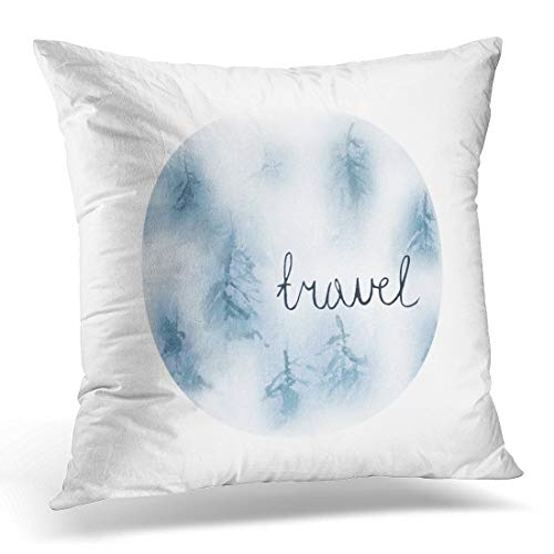 Kcoremia Throw Pillow Covers Black 2018 Grunge Snowy Forest in Circle Watercolor Conifers Fog Nature Winter DIY Sites Green Abstract Decorative Pillow Case Home Decor Square 18W X 18L Pillowcase -