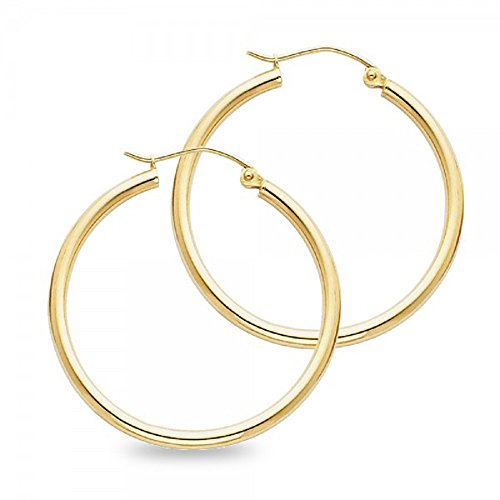 Round Hoop Classic Earrings - Classic Round Hoop Earrings Solid 14k Yellow Gold Plain Design Polished Finish Ladies 30 x 2 mm