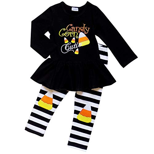 Candy Dresses For Halloween (So Sydney Girls Halloween Pumpkin, Candy, or Cat - 2 Piece Ruffle Pants Outfit (XL (6), Candy Corn)