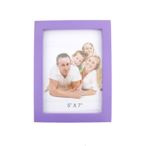 Simple Rectangular Wood Desktop Family Picture Photo Frame with Glass Front (Purple, - Purple Frame