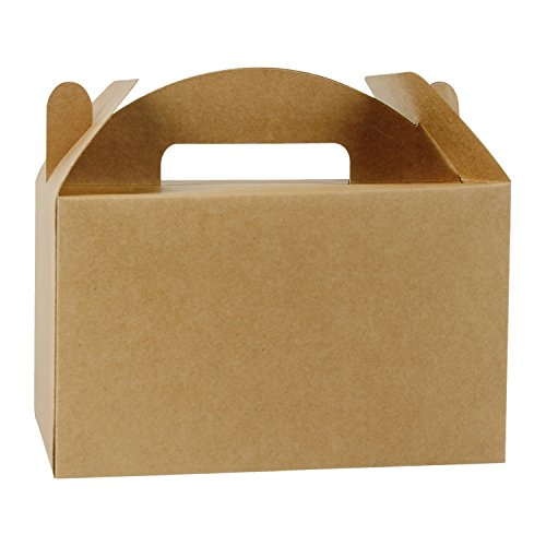 LaRibbons 12 Pack Treat Gift Boxes - 9.5 x 5 x 5 inches Brown Paper Box Recycled Kraft Gift Box Birthday Party Shower Favor Box ()