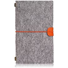 Chris-Wang Refillable A6 Traveler's Notebook Notepad, Wool Felt Bound Journal with Wraparound Strap to Close, Loose PVC Zipper Pocket and Name Card Holder Pouch Included (1Pc), Grey