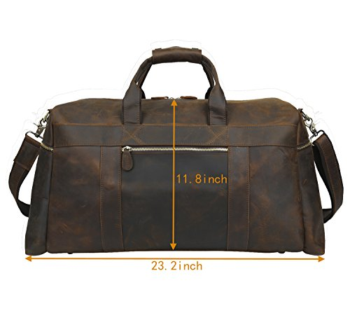 Polare 23'' Duffle Retro Thick Cowhide Leather Weekender Travel Duffel luggage Bag by Polare (Image #2)