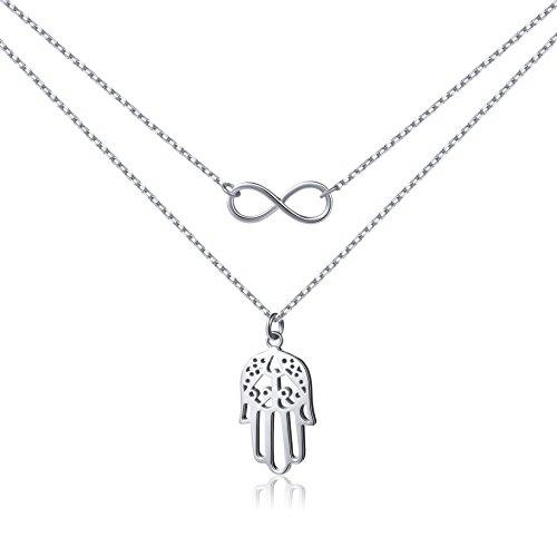 Ladytree 925 Sterling Silver Jewelry Infinity Hamsa Hand