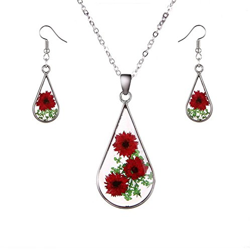 Transparent Necklace And Earring Set - New Arrival Creative Natural Dried Flower with Transparent Glass Surface Women/Girl's Fashion Necklace & Earrings Set (Set 6)