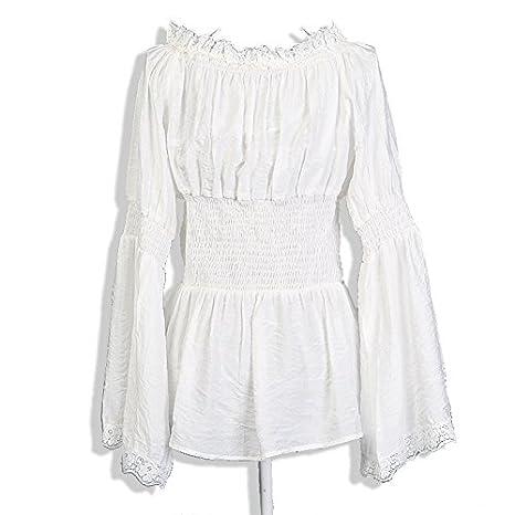 Candow Look Blanca de encaje de algodš®n Mujeres Campesinas camisa blusa retro vintage dise?o Semi Sheer: Amazon.es: Ropa y accesorios
