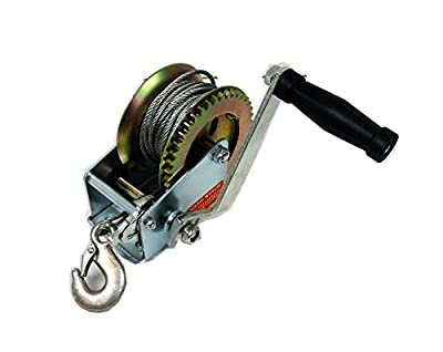 Hand Winch 1000 lbs / 455Kg Hand Crank Steel Cable Gear Winch - ATV Boat Marine Trailer Heavy Duty - Forged Hook Heavy Duty Steel Chassis