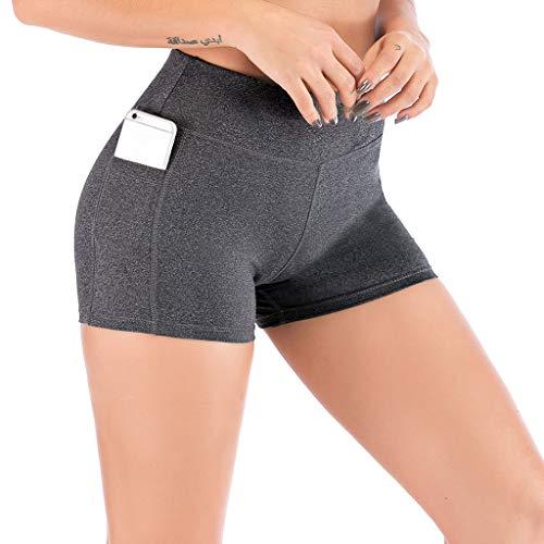 (TAORE Women High Waist Yoga Pants with Cell Phone Pockets Yoga Shorts Leggings Pants Grey)