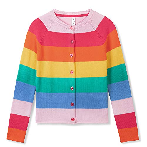 Kid Nation Girls' Cardigan Rainbow Sweater for Girls Long Sleeve Uniforms Round-Neck Colorful Cotton Knit Sweater