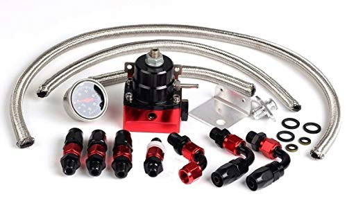 Universal FPR Adjustable Fuel Pressure Regulator Kit with Gas Oil 0-100psi Gauge and 6AN Fittings & Lines
