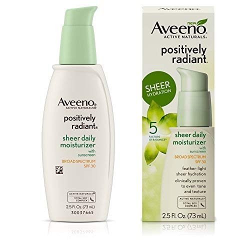 Aveeno Positively Radiant Sheer Moisturizer Spf#30 2.5 Ounce (73ml) (2 Pack)