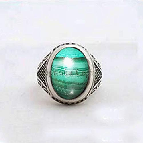 - Natural Malachite Ring, Solid 925 Sterling Silver Ring, Mens Malachite Jewelry, Healing Gemstone Ring, Mens Malachite Ring, Artisan Handmade Silver Ring, Mens Celtic Jewelry