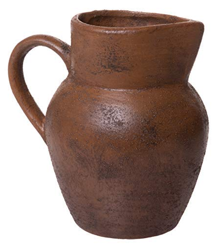 Red Co. Granny's Brown Pitcher Flower Vase, Decorative Earthenware Centerpiece, 6 Inches