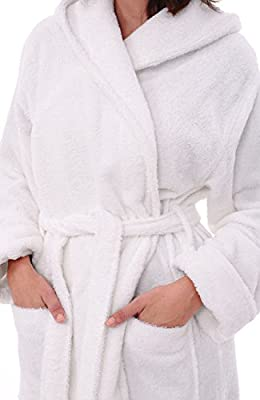Del Rossa Women's Turkish Terry Cloth Robe, Long Cotton Hooded Bathrobe