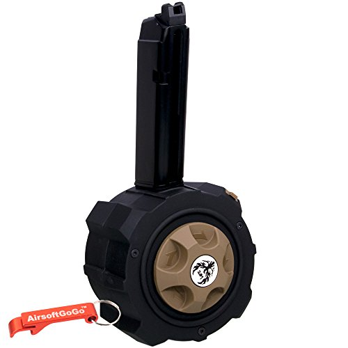 HFC Metal Gas Drum Magazine for Marui , HFC, WE, APS G17 / G18 / G22 / G26 / G34 Airsoft GBB (Black) - Keychain Included