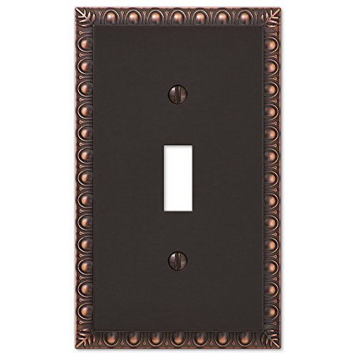 Single 1 Toggle Egg & Dart Switch Plate Outlet Cover Wall Plate - Oil Rubbed Bronze ()