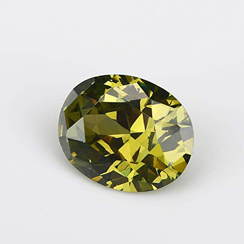 Calvas 50-100pcs // Pack Wholesale 5A Quality 2x3~8x10mm Peridot Zirconia Beads Oval Cut Shape Cubic Zirconia gem Stone Applied Ring Set - 50pcs Color: Peridot AAAAA, Item Diameter: 8x10mm