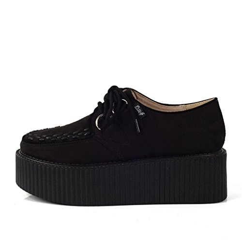 Platform Creepers Flat Lace Black RoseG Womens Shoe Handmade Up Suede Zqgg4YwU