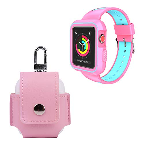 VanGoddy Holster for AirPods Charging Case and Pink Aqua Blue Protective Shockproof Hybrid Band Case for Apple Watch 42mm Series 3, Series 2, Series ()
