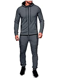 Heartell Men's 2 Piece Tracksuits Pleated Jogger Pants + Long Sleeve Zipper Hoodie Solid Color Sports Suit