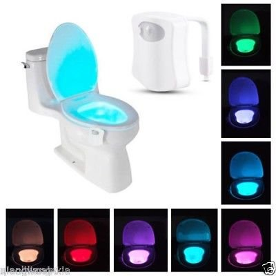 Sunnest Motion Activated Toilet Night Light, LED Bowl Light, Motion Sensor Seat Light 8 Color Changing, Fit Any Toilet, (Sensors Seat)