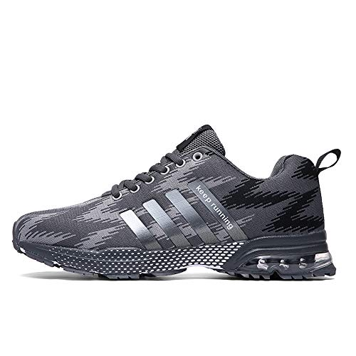XIDISO Mens Womens Running Shoes Air Cushion Sneakers Lightweight Athletic Tennis Sport Shoe for Men. Gray